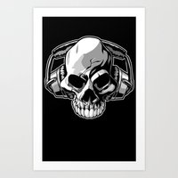 Skull Phones Art Print