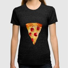 Pizza Womens Fitted Tee Tri-Black SMALL
