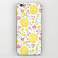 Watercolor floral pattern with doily iPhone & iPod Skin