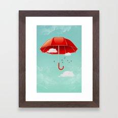 Teal Sky Red Umbrella Framed Art Print