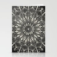 Vintage Mandala On Black Stationery Cards