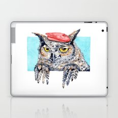 Serious Horned Owl in Red Beret  Laptop & iPad Skin