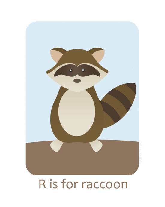 R is for Raccoon - Woodland Animals Art Print