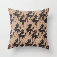 Burlap Horses Throw Pillow