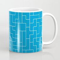 White Tetris Pattern on Blue Mug