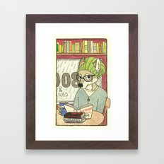 Emy The Wolf Who Loves Coffee and Good Books Framed Art Print