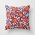 Coral Summer - a hand drawn floral pattern Throw Pillow
