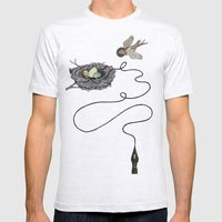 Bird's Winged Flight  Mens Fitted Tee Ash Grey SMALL