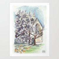 Oxford: Merton Tower Art Print