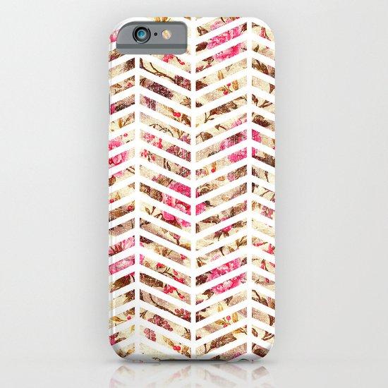 Pink Vintage Floral Girly Chevron Zig Zag Pattern iPhone & iPod Case