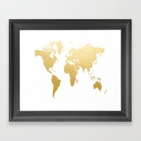 Gold Map Print Framed Art Print