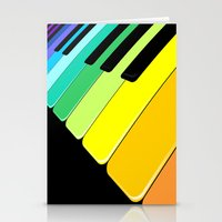 Piano Keyboard Rainbow Colors  Stationery Cards