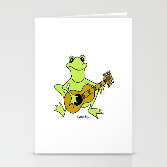 Frog with guitar Stationery Card