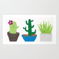 Happy little cacti Art Print