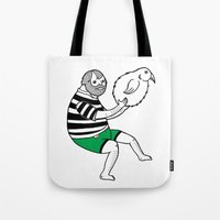 Tote Bag featuring On the strange and controversial topic of bird bowling by Michael C. Hsiung