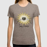 Say Cheese Womens Fitted Tee Tri-Coffee SMALL