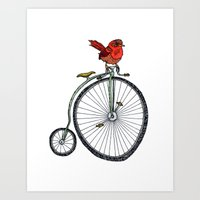 Bird On A Bicycle. Art Print