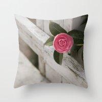 Pink Porch Flower Throw Pillow