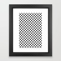 Black and white polka dots Framed Art Print