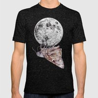 In which a moth is enticed by the light of the moon Mens Fitted Tee Tri-Black SMALL