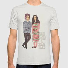 Bob Dylan & Joan Baez Mens Fitted Tee Silver SMALL