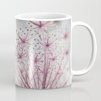 Vintage Raspberry Pink and Paris Gray Botanical Queen Anne's Lace Wildflower Mug