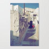 Canvas Print featuring Streets of Santorini IV by istillshootfilm