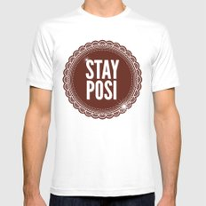 Stay Posi SMALL Mens Fitted Tee White