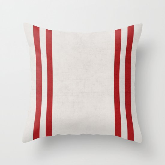 french linen - red Throw Pillow by Her Art Society6