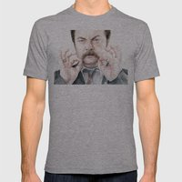 Swanson Mustache Mens Fitted Tee Athletic Grey SMALL