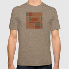 Mondrian inspired Mens Fitted Tee Tri-Coffee SMALL