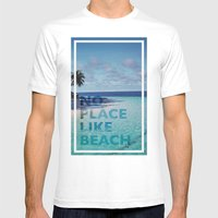 NO PLACE LIKE BEACH Mens Fitted Tee White SMALL