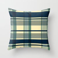 Blue Plaid Pattern Throw Pillow