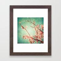 Pink Autumn Leafs On Blu… Framed Art Print