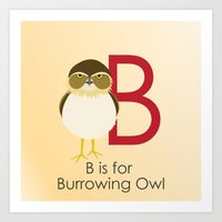 B is for Burrowing Owl Art Print
