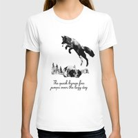 dog T-shirts featuring The quick brown fox jumps over the lazy dog by Robert Farkas