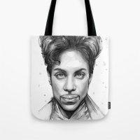 Prince Watercolor Black and White Portrait Tote Bag