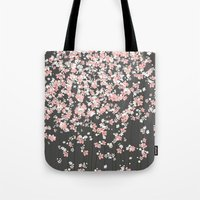Black background Pink Shidare Zakura Tote Bag