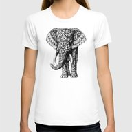 Navajo Elephant Womens Fitted Tee White SMALL