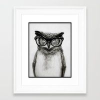 Framed Art Prints featuring Mr. Owl by Isaiah K. Stephens