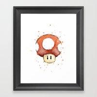 Red Mushroom Watercolor Mario Art Framed Art Print