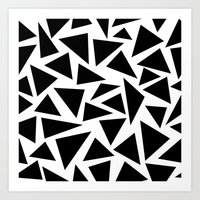 Black and White Triangle Art Print