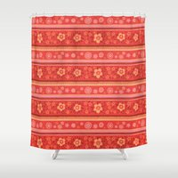 Bright Red Flowers Shower Curtain