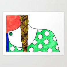 Braid and Polka Dot Art Print