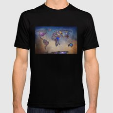 Stars world map. Blue SMALL Black Mens Fitted Tee