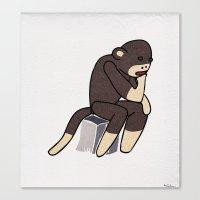 Sock Monkey Thinking Canvas Print