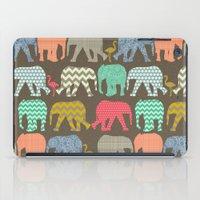 baby elephants and flamingos dark linen iPad Case