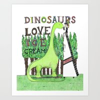 Dinosaurs Love Ice Cream Art Print