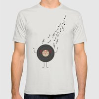 THEODORE THE VINYL Mens Fitted Tee Silver SMALL