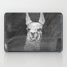 Black White Vintage Funny Llama Animal Art Drawing iPad Case